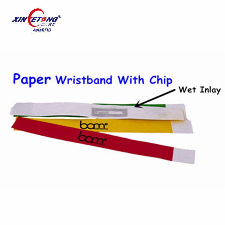 Disposable RFID Ntag213 / Ntag216 nfc wristbands dupoint paper bracelet for events
