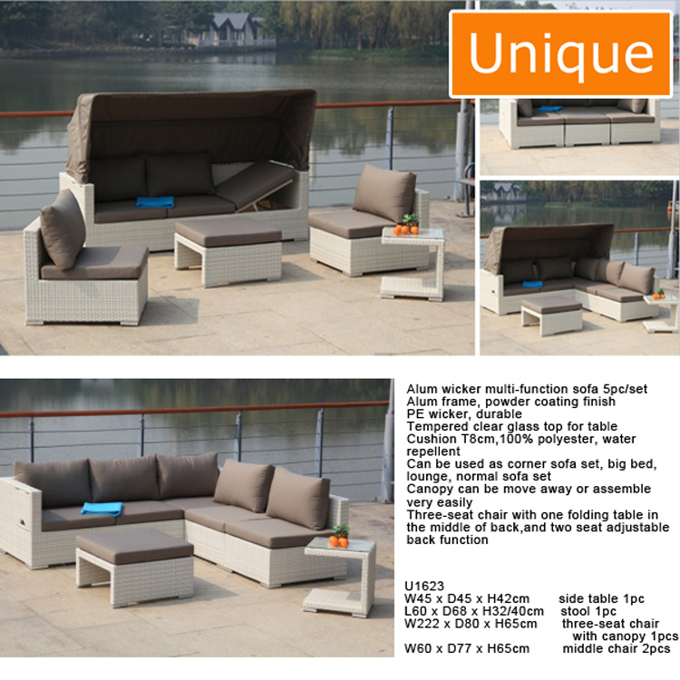 Modern Design Alum wicker multi-function sofa 5pc/set outdoor rattan furniture
