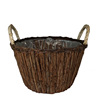 Home Garden Planting Basket Bark Rattan Flower Pots with Corn Rope Handle For Garden Planters