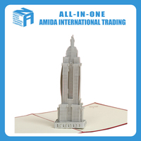 Tourism buildings postcards, Empire State Building 3d creative manual cards