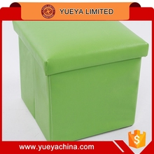 PU Folding Stool Storage Box Foot STOOL Seat Bench Toy BOX With Lid-green