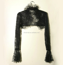 SW770 bridal bolero jacket long sleeve black lace wedding dress jackets