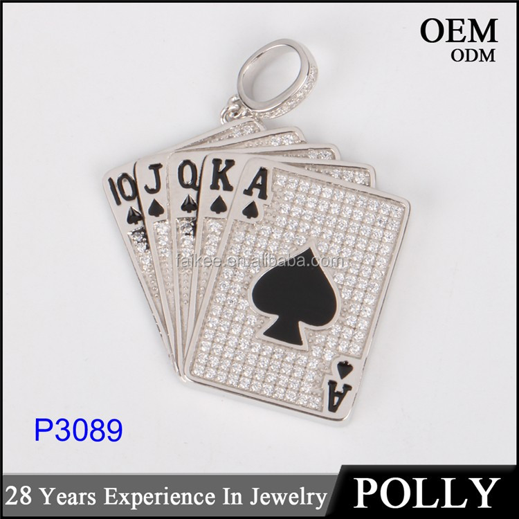 wholesale hip hop jewelry playing card 10k gold plating two tone pendant