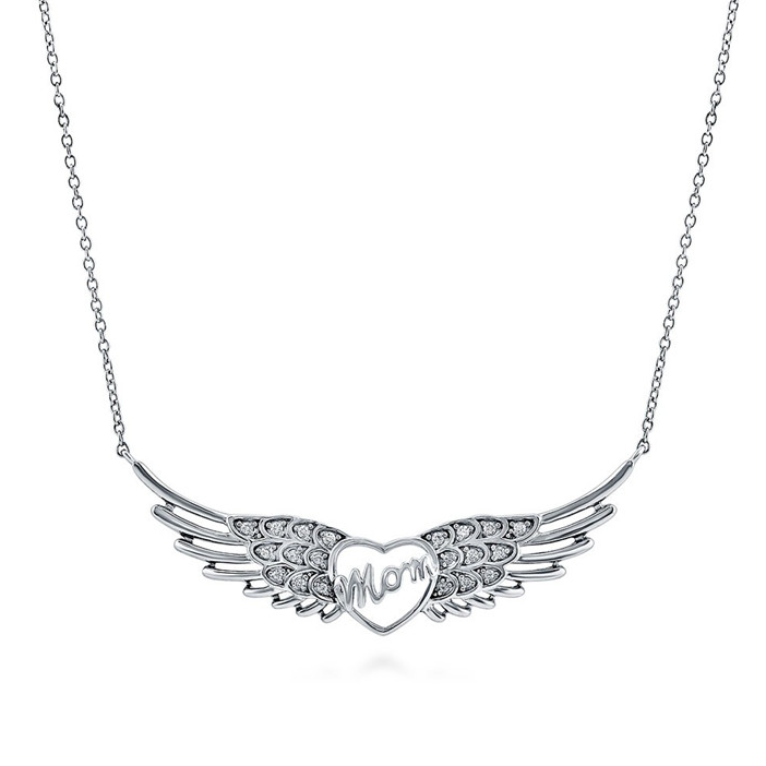 Letter Love Women 925 Sterling Silver CZ Pave mom angel wings heart necklace