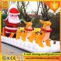 Christmas customized inflatable santa claus with penguin,reindeer,sled,pin tree W276