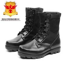 Cheap Black Full grain leather police boots for battle
