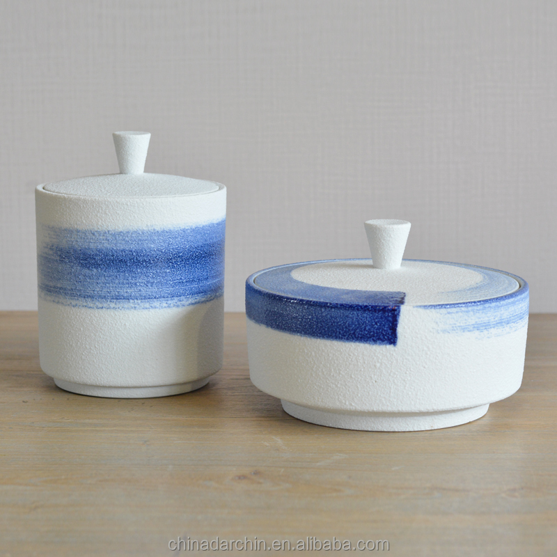 High quality table decoration blue and white rough ceramic storage jars