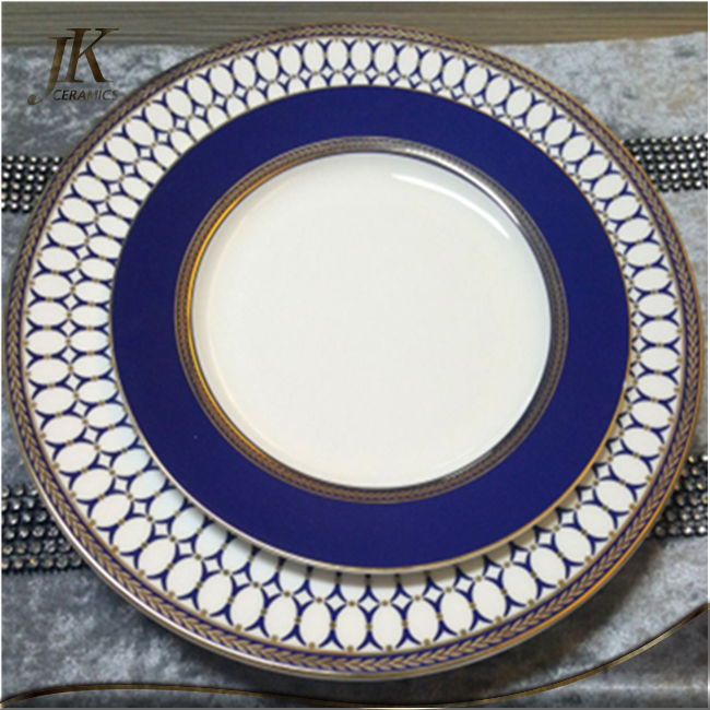 Wholesale Bone China Navy Blue Plates Crockery Set