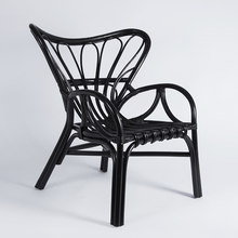 Black relaxing willow rattan outdoor peacock stackable chairs