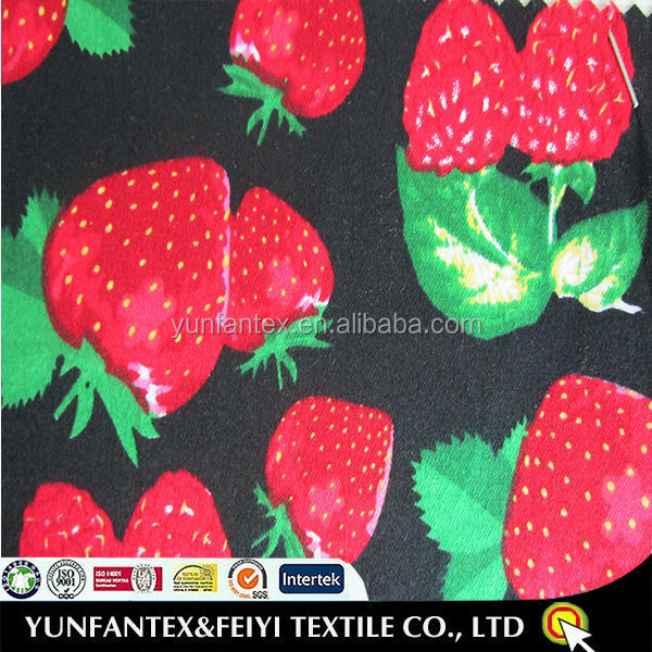 2015 new product high quality pretty cotton strawberry print fabric
