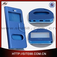 Dual window flip leather cell phone cover for iphone 6 with wholesale price