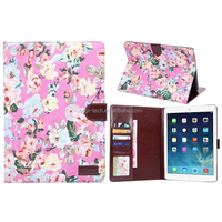 Flower Cloth Ultra thin Leather Folio smart Cover for Apple ipad air 2 tablet case with kickstand pad