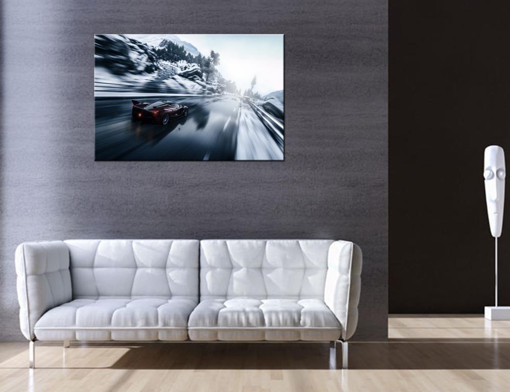 Sports Car Picture Canvas Wall Decor HD Photo Snow Scenery Canvas Printing Ready to Hang