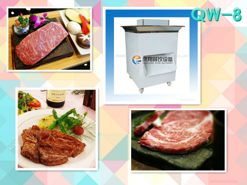 QW-8 beef steak cutting machine cutter slicing steak making smooth surface easy operation large inlet high capacity/amount