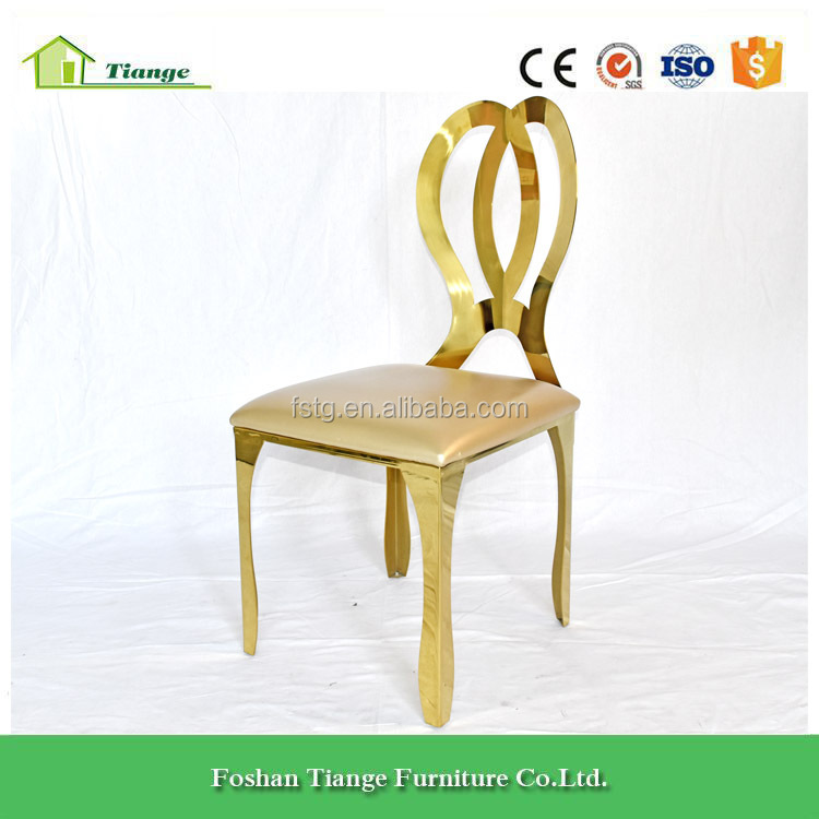 Royal Romance Design Golden Stainless Steel Wedding Dining Chair