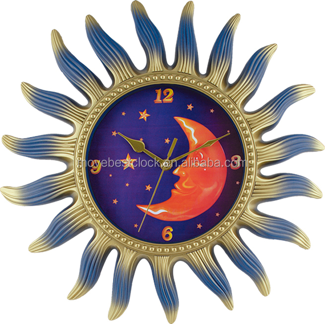 40 cm moon sun shaped wall clock