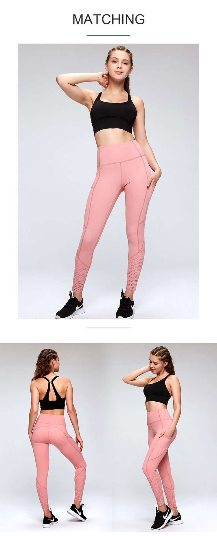 Ladies gym leggings with pocket wholesale sport high waist yoga pants