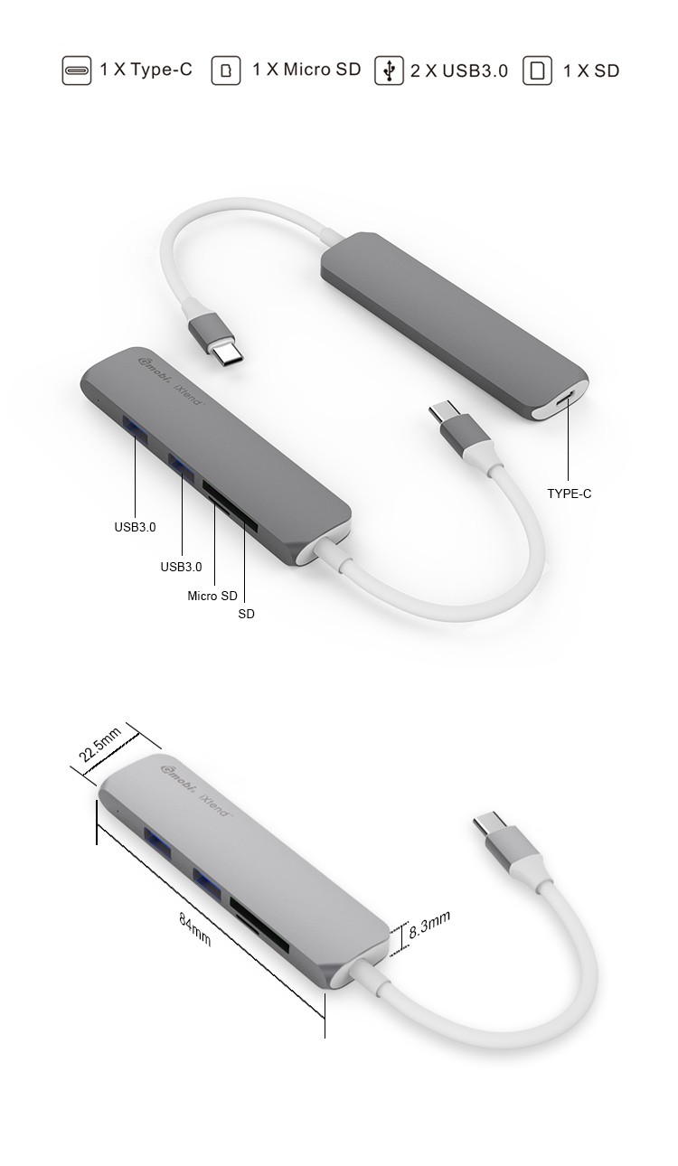Gopod USB Type-c to Micro SD and SD Card Reader for New Macbook