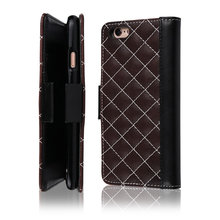 C&T Luxury PU Leather Quilted Grid Design Cell Phone Case Wallet Folding Cover Card Holder for iPhone 6 / 6S (4.7)