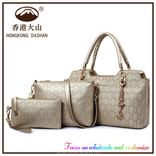 2016 High Quality Whole PU Bone Grain Set Bags Wholesale Fashion Designer Women Genuine Leather Ladies Handbags Made in China