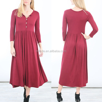 Simple Design Western Women Dress Soft Touch Jersey Burgundy Solid Color Button Front Long Sleeve Spandex Midi Dress