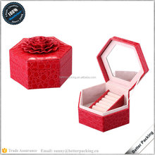 Hexagonal Shaped Custom Size Flower Top Lid Wood Leather Jewelry box