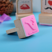 Handcrafts Rubber Stamps Wood with handle ,Cute Natural Wooden Kids Toys Stamps