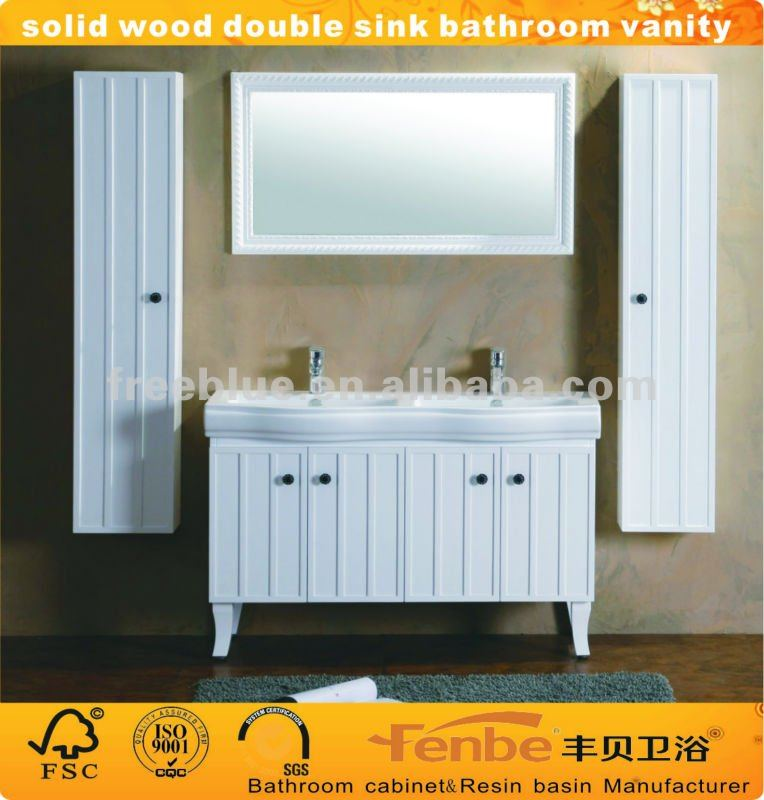 Legno massello doppio lavello vanit bagno con mobile laterale armadietto id prodotto 366333940 - Bagno con doppio lavello ...