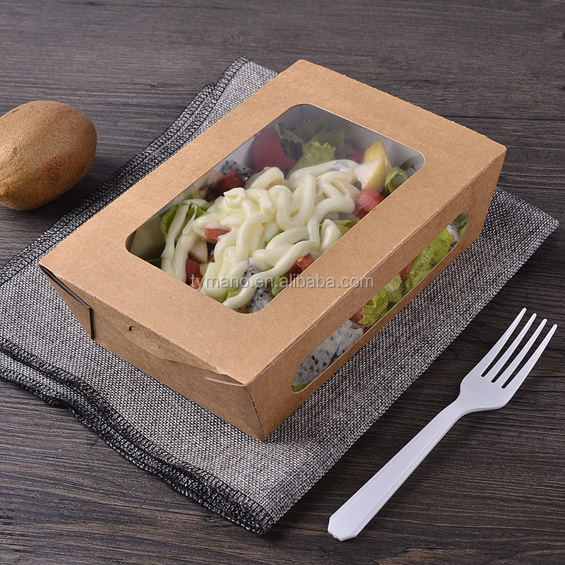 730ml food grade coated PE kraft paper box with single window for fast food/lunch meal
