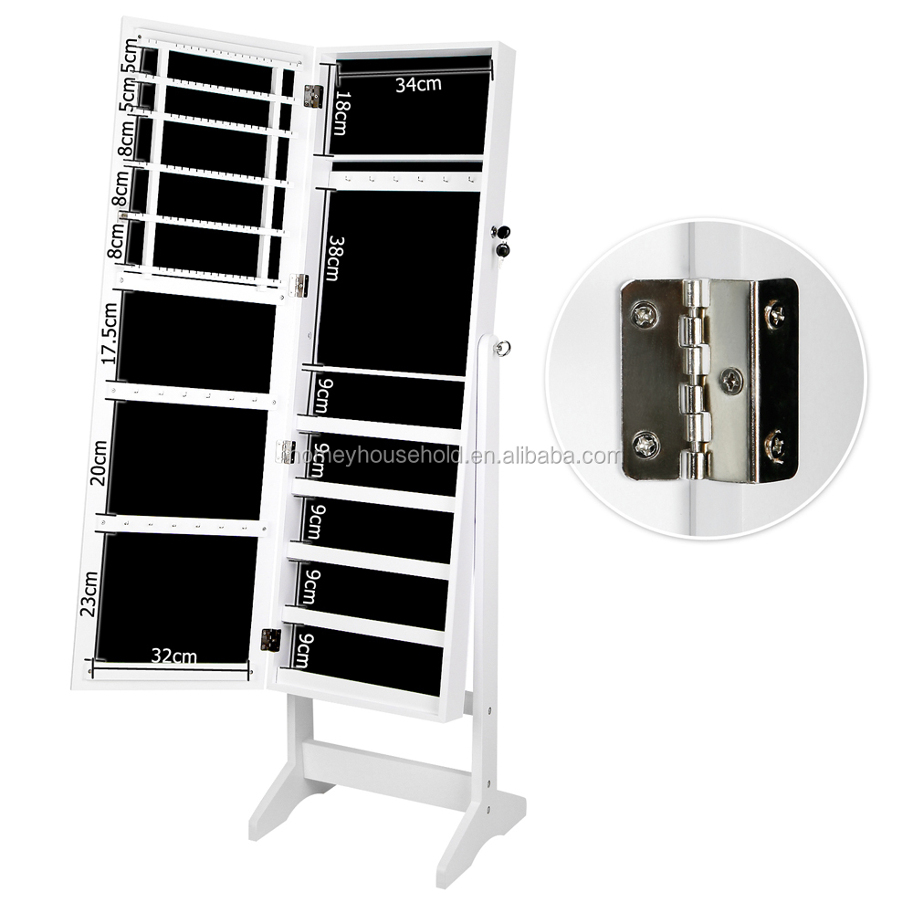 Wholesale Wooden Carved Mirror White Jewellery Cabinet