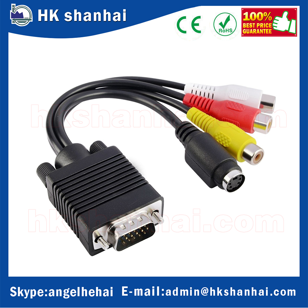 low price VGA to TV S-Video 3 RCA PC Computer AV Adapter Cable vga to single bnc