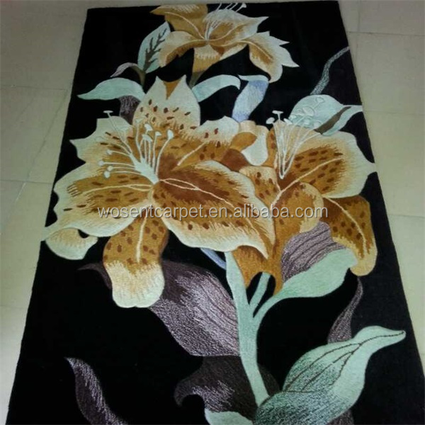 Floral pattern carpet hand woven silk wool carpet rug bedroom decorative floor area rug