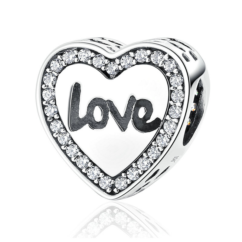 SCC089 925 Sterling Silver Love Heart Life Round Alphabet Charms