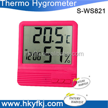 Big window thermometer digital display Hygro-thermometer with alarm clock (S-WS821)