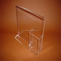 Custom Acrylic Vintage Lucite artical Rack with card holder plexiglass magazine stand