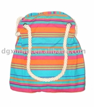 Women's Casual Color striped beach bag Canvas Cotton Top-Handle Bag Shoulder Bag