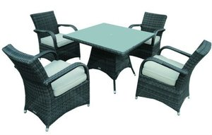 Garden Set - Rattan Dining Set (4 chairs + 1 round table)