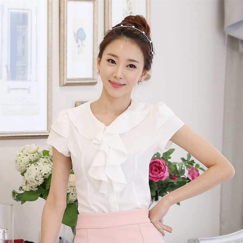 summer latest design women tops chiffon ladies casual ruffled blouse