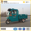 battery operated cargo tricycle with front roof and rear van