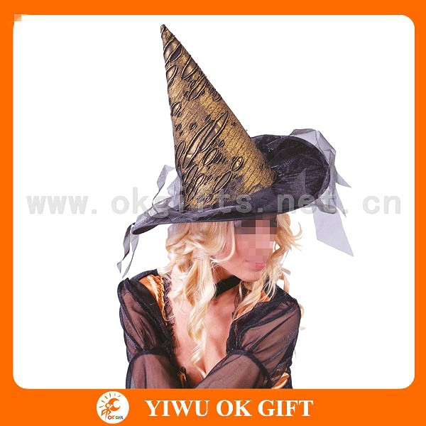 3D pattern artificial leather halloween party witch hat, carnival party foam hats, crazy party accessories
