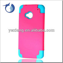 Greeen Silicon+Pink Cover For HTC One M7 Rubber Phone Case