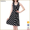 Alibaba Black White Dot Fashion Dress Ladies Latest Designs Dresses For Women Sleeveless 2016