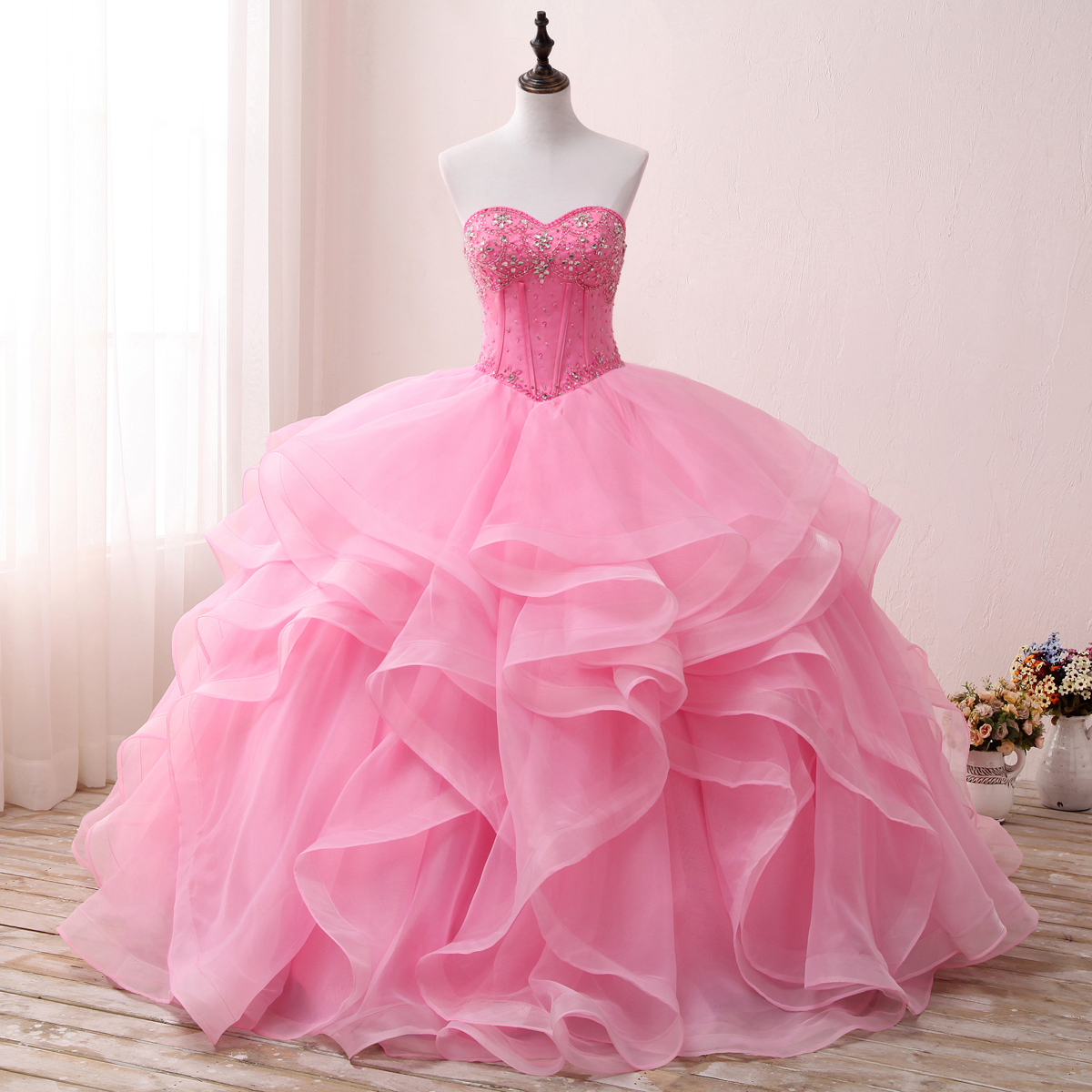 2018 Pink Princess Quinceanera Ball Gown Dresses Sleeveless Beaded ...