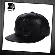 German black perforated leather snapback cap and hat