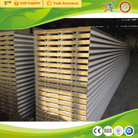 Nice price rockwool sandwich panel fireproof roof lightweight heat resistant roof paneles sandwich / cheap rockwool price