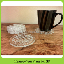 round brand logo engraved coaster acrylic handmade craft cup mat for coffee shop
