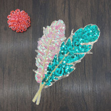 DIY customized Lace Patch appliques green leaves Lace fabric Sequins cloth embroidery patch