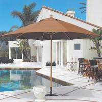 11' Deluxe Wood Market Umbrella w/ Light Wood