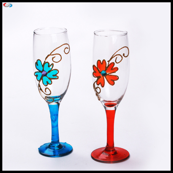 Hand Painted Stem Wine Glass Valentines Hand Painted Wine Glass Handmade Wine Glass