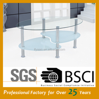 Wholesale clear glass table metal leg coffee table JY-48